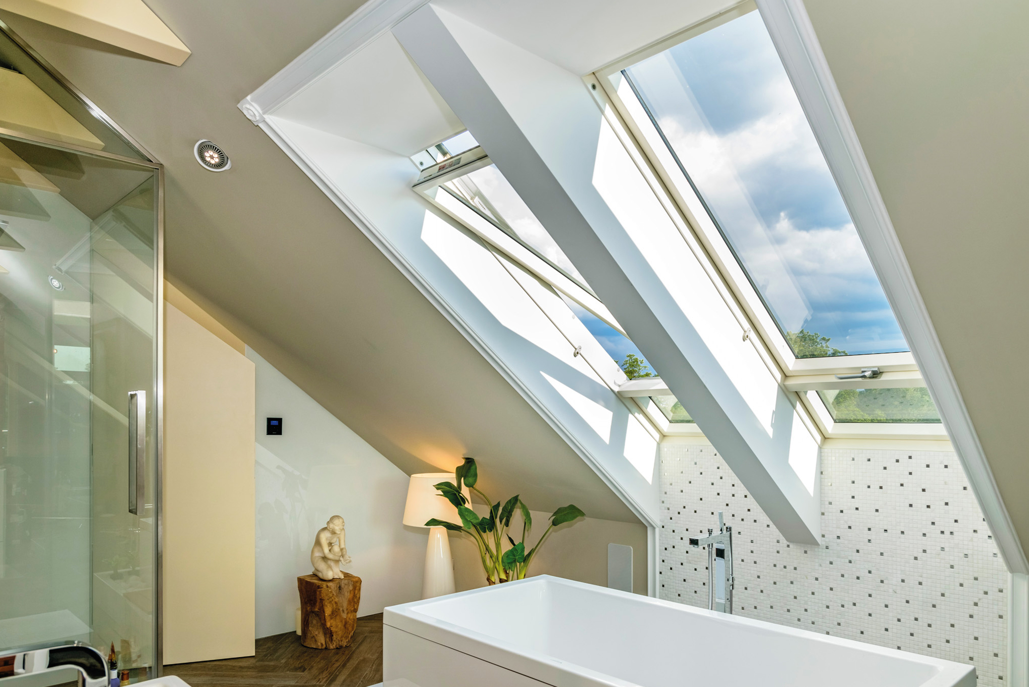 High pivot roof windows in bathroom
