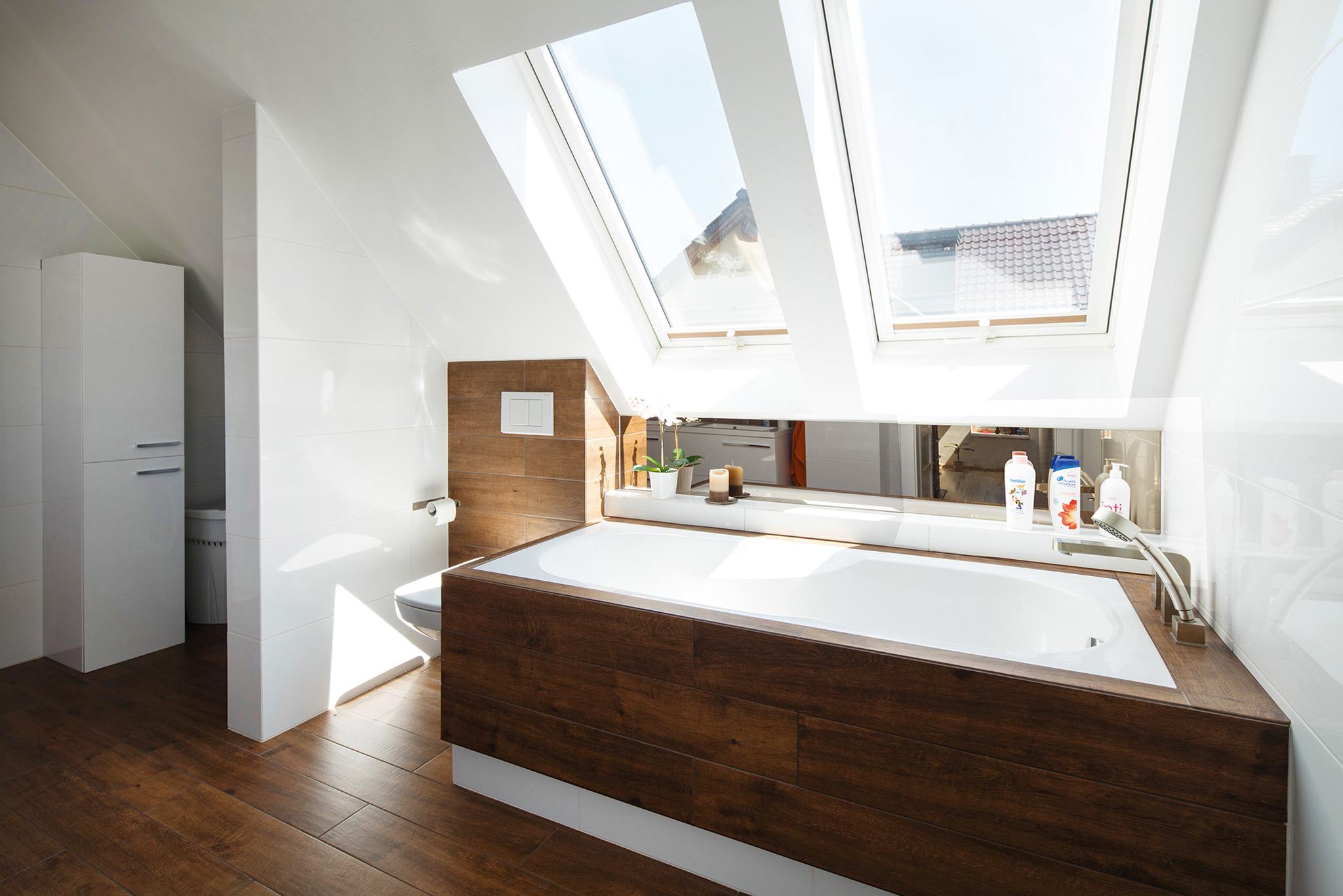 White PVC roof windows in bathroom