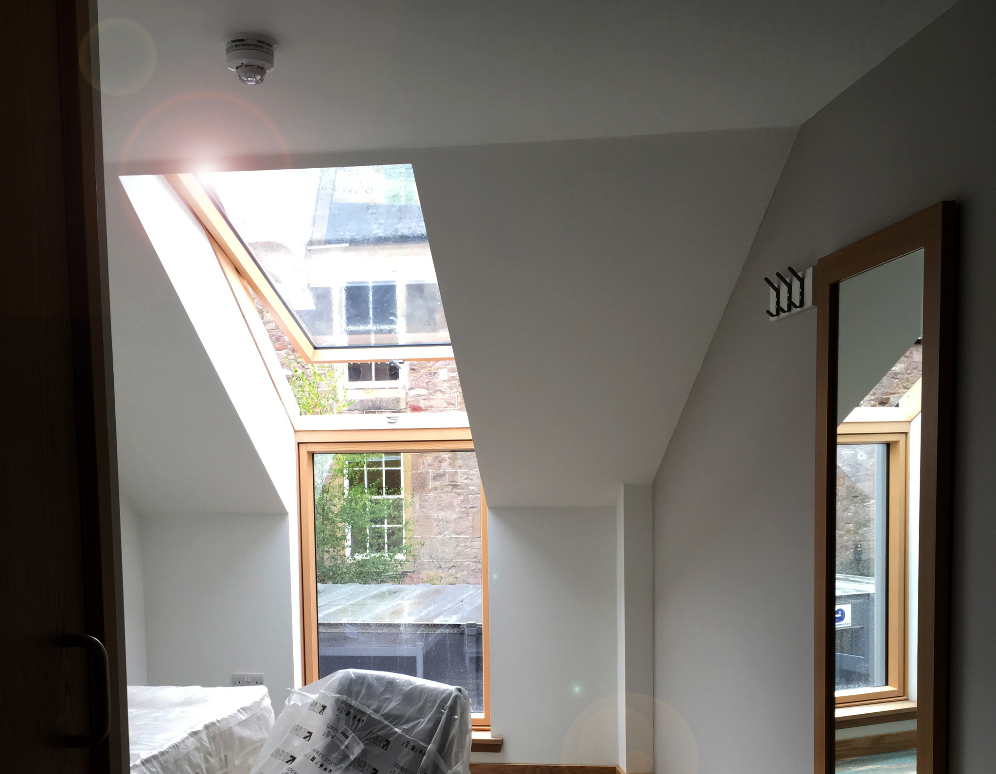 L-Shape combination window in university accommodation
