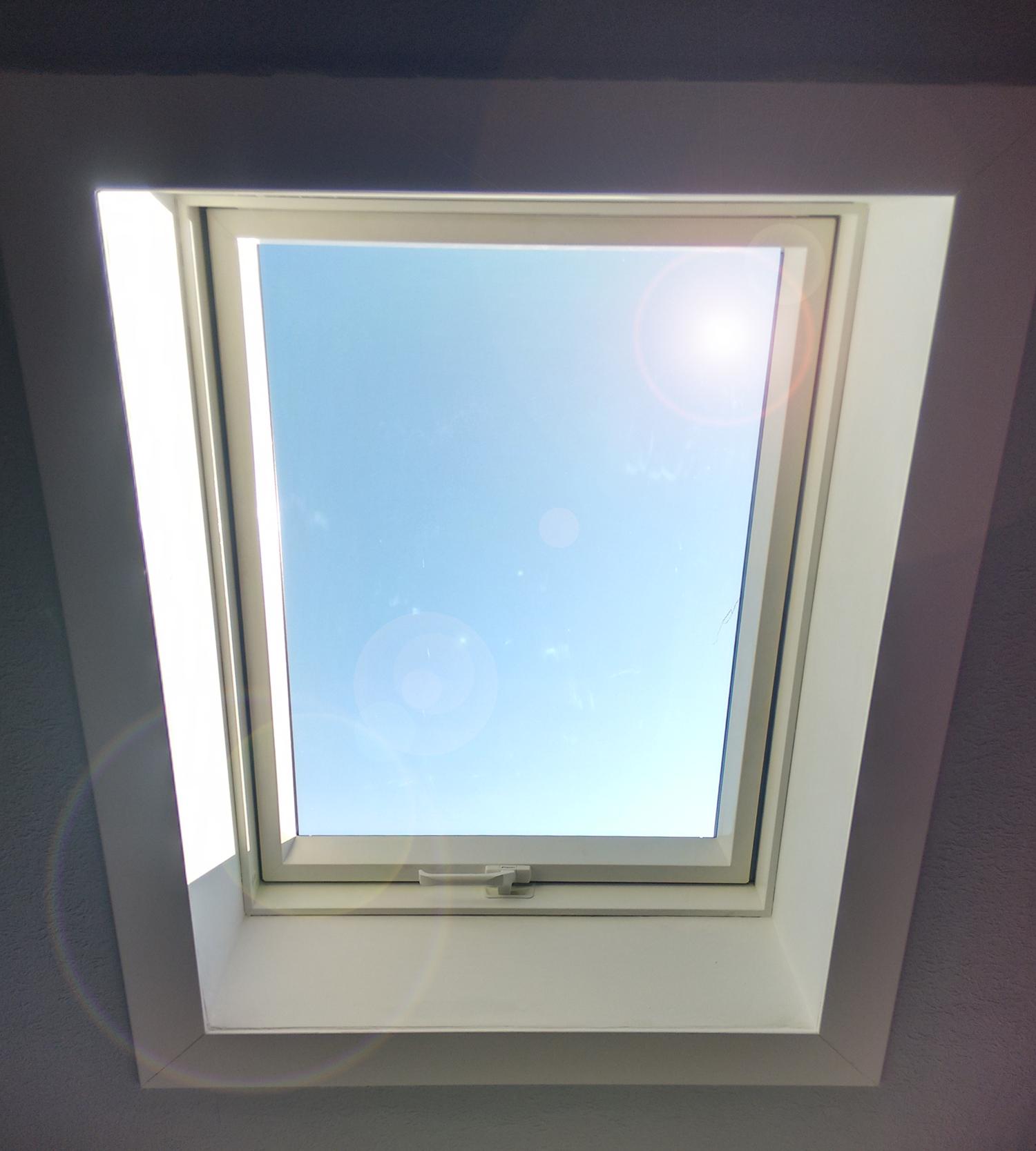 Light flooding through PVC roof window