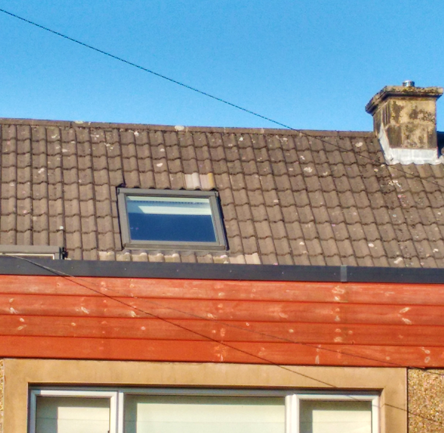 Roof window in pitched roof