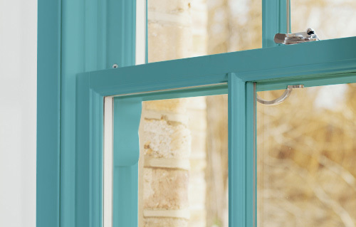 Blue sash window